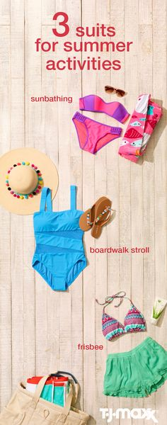 The Suits You Need This Summer: Not all bikinis are created equal! Before buying a new swimsuit for your summer vacation, consider what you'll be doing. A bikini might be right for one activity, but a one-piece, tankini or monokini might be right for another. Shop TJMaxx.com now and find the right swimsuit for your summer plans.