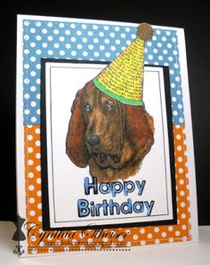 Funny birthday card by Stampin' In Alaska using Crafty Secrets Big Dog Digital Stamp Jumbo Set. Entered in June Let's Hear it for the Boys Linky Party