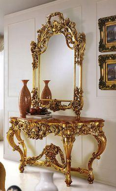 Espejo italiano tocador y el conjunto hermosa banqueta for Consolas antiguas muebles