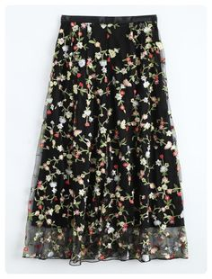 Tulle Floral Embroidered Skirt (Black)