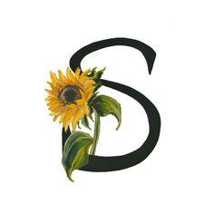 S est pour le tournesol, imprimé Floral Alphabet 5 x 7 ou 8 x 10
