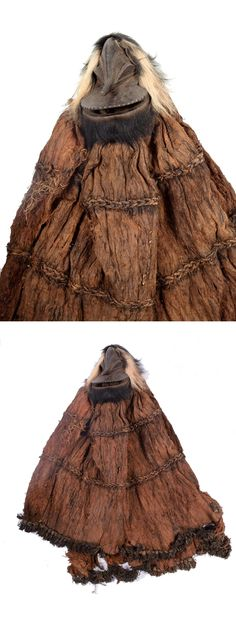 Africa | Masquerade costume with mask from the Hemba people of Congo | Costume made from bark cloth, wooden mask with hair
