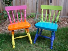 """Hand painted OOAK Upcycled Vintage Pair of Children's Chairs """"Magical Island"""" & """"Hawaiian Sunrise"""" a rainbow of bright, joyful colors, prop. $65.00, via Etsy."""