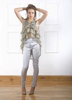 Silk Chiffon.  Ruffles Cascades. Bows. High Waist Pants.  Still all the things I love today :)