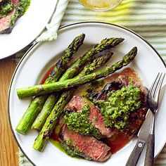Rib-Eye Steaks with Pistachio Butter and Asparagus  Tip: Make the butter for the steaks before heading out to camp