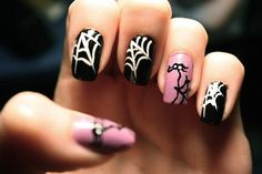 breast cancer nail deigns | Design » Spiderweb Nails for Breast Cancer Awareness and Halloween!