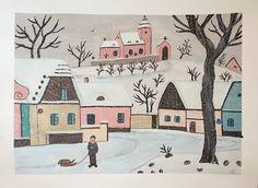 Art Room Britt: Josef Lada Winter Landscape - Gouache and Colored Pencil Winter Art Projects, Projects For Kids, Art Lessons For Kids, Winter Landscape, Winter Theme, Winter Scenes, Drawing For Kids, Main Colors, Art Education