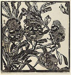 Margaret Preston linocut of banksias Australian Wildflowers, Australian Native Flowers, Australian Plants, Australian Bush, Henri De Toulouse Lautrec, Botanical Art, Botanical Illustration, Illustration Art, Australian Painters