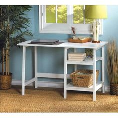 Whether you're working or studying at home, check off your to-do list at this classic white workstation desk. Simplicity in style with all the space you need for the task at hand. MDF wood with lacquer. | eBay!