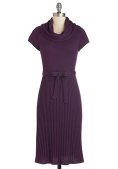 Pie Date Dress - Knit, Mid-length, Purple, Solid, Belted, Casual, Sweater Dress, Sheath, Short Sleeves, Cowl