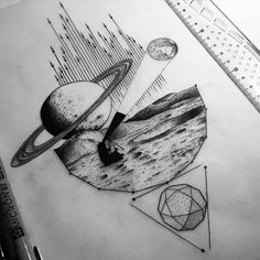 a tattoo design about space exploration                                                                                                                                                                                 Más