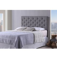Viviana Modern and Contemporary Full/Queen Size Grey Upholstered Button-tufted Headboard - Overstock Shopping - Big Discounts on Baxton Studio Headboards