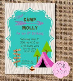 Camping Invitation  Girls Birthday Party by PinkPeonyTX on Etsy, $12.00