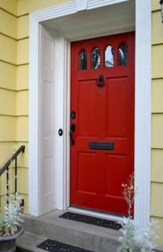 Best Paint Colour For A Front Door Is Red With Yellow Painted Siding