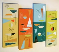 1960's Panel Room Divider. Love the Graphics.