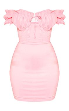 The Baby Pink Bardot Frill Detail Bodycon Dress. Head online and shop this season's range of dresses at PrettyLittleThing. Pink Outfits, Stylish Outfits, Summer Outfits, Cute Outfits, Pink Top Outfit, Cute Fashion, Pink Fashion, Fashion Outfits, Pink Bodycon Dresses