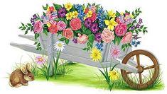 Glanzbilder - Victorian Die Cut - Victorian Scrap - Tube Victorienne - Glansbilleder - Plaatjes : Schubkarren mit Blumen - Wheelbarrow with flowers - Brouette avec des fleurs - Glanzbild - Victorian Die Cut - tube victorienne - Victorian Scrap - clipart
