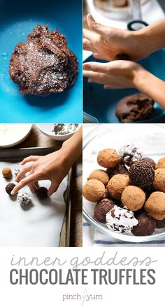 Inner Goddess Chocolate Truffles - these yummy bite-sized sweets are made with healthful, whole ingredients. Ready in 10 minutes, 90 calories each!