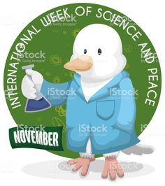 Dove with Chemical Glassware Promoting Week of Science and Peace Free Vector Art, Science, Peace, Illustration, Animals, Animales, Animaux, Animal, Illustrations
