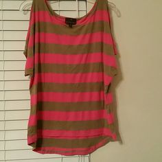 Striped shirt with keyhole cutout sleeves Tan and hot Pink top Tops Tees - Short Sleeve