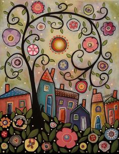 Collage Tree Village 11x14 ORIGINAL CANVAS PAINTING houses FOLK ART Karla Gerard #FolkArtAbstractPrimitive