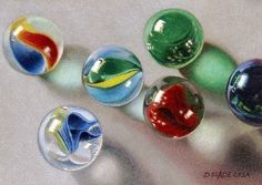 """Lost Marbles"" - by Donna Slade ~  Colored Pencil"
