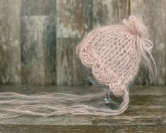 Mohair Newborn Hat, Cappuccino Knit Bonnet ,Baby Girl Bonnet, Newborn Photo prop, Vintage Baby Hat, Knitted Hat Bonnet