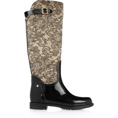 René Caovilla Lace and rubber boots (82 KWD) ❤ liked on Polyvore featuring shoes, boots, black, black lace boots, pull on boots, rain boots, black slip on boots and black low heel boots