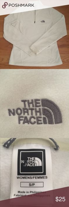Women's North Face 1/4 Zip Fleece White 1/4 zip North Face fleece. Only worn a few times. Great to layer under jackets or on its on in the fall or spring! 100% polyester North Face Tops Sweatshirts & Hoodies