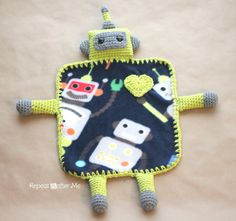 Repeat Crafter Me: Crochet Robot Lovey Blanket free crochet pattern of the day from dailycrocheter.com 10/11/13