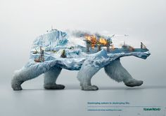"Stop forest fires. Stop deforestation. Stop melting ice caps. ""Destroying nature is destroying life"" – A social campaign organized by the environmental advocacy group, Robin Hood, to raise public awareness of the ongoing destruction of animals' natural habitats."