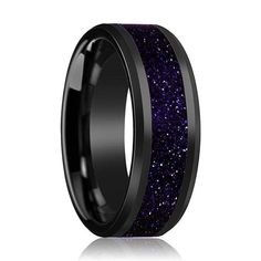 Thorsten Marlow Men/'s Polished Black Ceramic Wedding Band Ring with Blue Lapis Inlay /& Beveled Edges 8mm Wide Wedding Band from Roy Rose Jewelry
