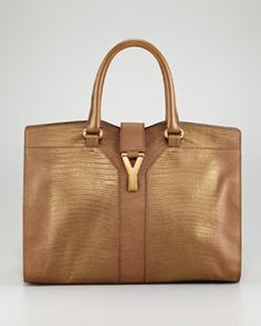 V18TZ Yves Saint Laurent Metallic Cabas ChYc Embossed Tote Bag, Medium