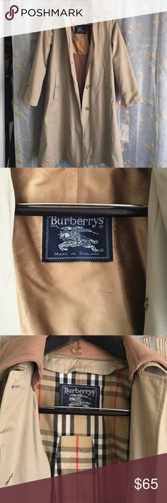 Vintage Burberry Trench Coat This is a rare find!  An authentic Burberry coat in very good condition.  It has a zip-out wool lining and a buttoned-on wool collar. A great addition to your fall wardrobe. Burberry Jackets & Coats Trench Coats