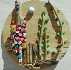 casette di sassi - Pittura, 20x20x1 cm ©2015 da Donatella Marraoni - Arte figurativa, Legno, Paesaggio, paesaggio, sasi, casette, casa, artista italiana, arte moderna
