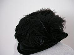 Vintage Edwardian Rolled Brim Black Velvet Hat by vintagepursona
