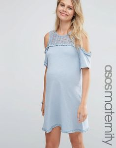 ASOS+Maternity+Cold+Shoulder+Dress+with+Crochet+Detailing