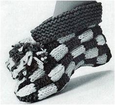 Côté tricot, je vous présente un modèle de pantoufles qui date des années 60 : Let's Play Checkers Cuff Slipper Pattern - free