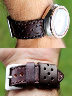 Hand made leather rally watch strap.