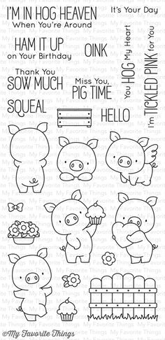 MFT STAMPS: Hog Heaven x Clear Photopolymer Stamp Set) This package includes Hog Heaven, a 23 piece set including: Pigs 1 x 1 x 1 x 1 1 x 1 x Fence 1 x 1 Step x Pot of flowers x Cupcake x Bow x F Doodle Drawings, Doodle Art, Doodles, Mft Stamps, Clear Stamps, Embroidery Patterns, Coloring Pages, Clip Art, Cards