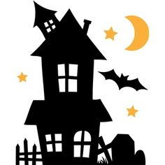 Haunted House and Fence Silhouette Sac Halloween, Moldes Halloween, Theme Halloween, Adornos Halloween, Halloween Rocks, Halloween Clipart, Halloween Haunted Houses, Halloween Quotes, Halloween Pictures