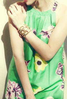 Gold link bracelet.