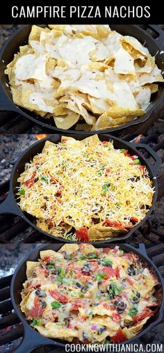 This Campfire Pizza Nachos recipe is a crowd pleaser every time we go camping. This Campfire Pizza Nachos recipe is a crowd pleaser every time we go camping. Kids & adults love it. Topped with queso, melted cheese, veggies, & pepperoni Pizza Nachos, Dutch Oven Cooking, Cast Iron Cooking, Cooking Foil, Dutch Oven Pizza, Cooking Utensils, Campfire Pizza, Camp Snacks, Campfire Desserts