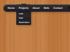 Get this free Simple black UI menu PSd file for any designing work