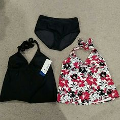 New Tankini Tops and Bottom Swimsuit tops have removable cups and halter neck ties, while bikini bottom is higher cut brief style. All pieces are new; black top has tag, floral top has no tag, bottom doesn't have tag but still has hygienic liner inside. All are Medium 8-10, but the floral top seems to fit bigger through the chest than the black one. Catalina Swim Bikinis
