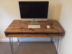 Reclaimed Pine Rustic Chunky Desk Solid Wood by Kowoodworksltd