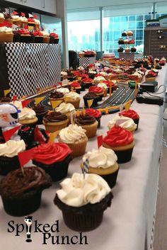 Race Car Theme Cupcake Table Race Car Themes, Cupcake Table, Themed Cupcakes, Catering, Punch, Toronto, Cars, Desserts, Food