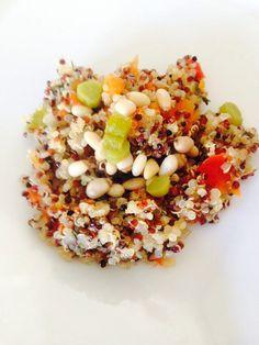 Quinoa,pinenuts,capsicum,parsley and carrot salad