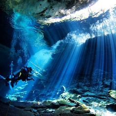 Cavern diving in cenotes. Mexico