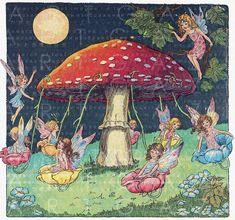 Flower FAIRIES' Merry Go Round Vintage Illustration. Vintage Fairies, Vintage Art, Photographie Indie, Vintage Illustration, Arte Indie, Kobold, Fairy Pictures, Mushroom Art, Fairytale Art
